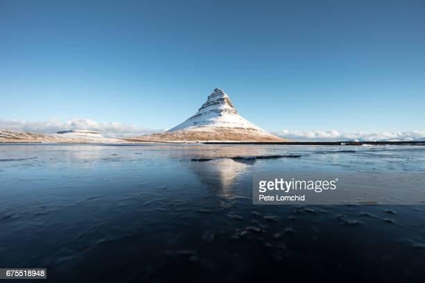 Full reflection winter Mountain Kirkjufell
