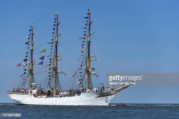 Full rigged heritage ship Sørlandet from Norway entering the port of Harlingen during the finish of the 2018 Tall Ship Race on August 3 2018 in...