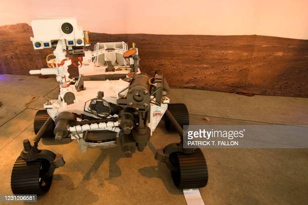 Full scale model of the Mars 2020 Perseverance rover is displayed at NASA's Jet Propulsion Laboratory on February 16, 2021 in Pasadena, California. -...