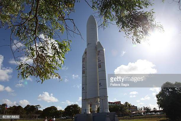 A full scale replica of the Ariane5 rocket on display at the Kourou space center on October 5 2016 in Kourou French Guiana European countries decided...