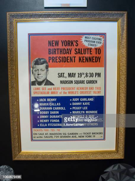 Full Shot of President Kennedy's Gala Poster at the Unveiling of Marilyn Monroe's Iconic 1962 'Happy Birthday Mr President' Dress at Ripley's Believe...