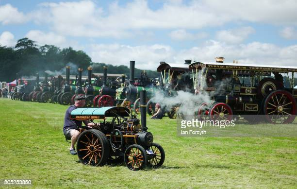 Full size and miniature steam engines are dispayed in the main arena during the Duncombe Park Steam Rally on July 1 2017 in Helmsley United Kingdom...