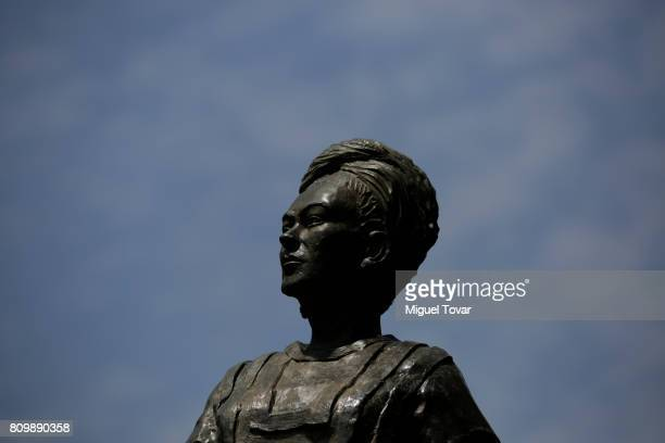 A full size bronze sculpture of Mexican artist Frida Kahlo by the sculptor Gabriel Ponzanelli is displayed during the Frida Kahlo's 110th birthday...