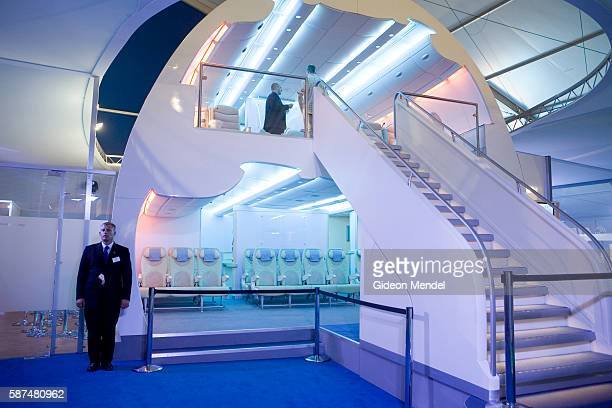 A full size model of the proposed interior seating and lighting arrangements of the new Airbus A380 double deck airliner on display during the...