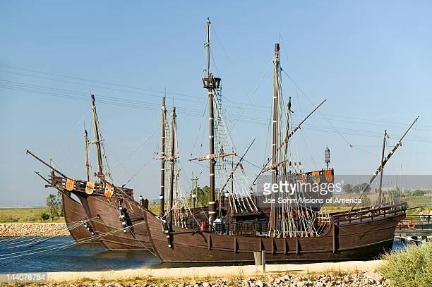 Full size replicas of Christopher Columbus' ships the Santa Maria the Pinta or the Niña at Muelle de las Carabelas Palos de la Frontera La Rábida the...