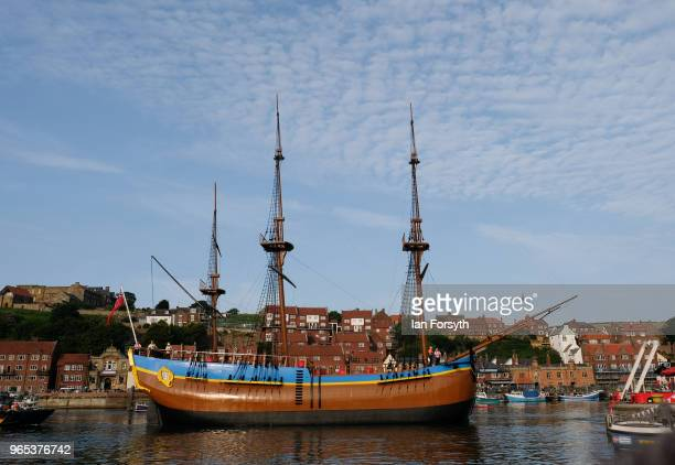 A full sized replica of Captain Cook's famous ship the HM Bark Endeavour is towed into Whitby Harbour following refurbishment work on the River Tees...