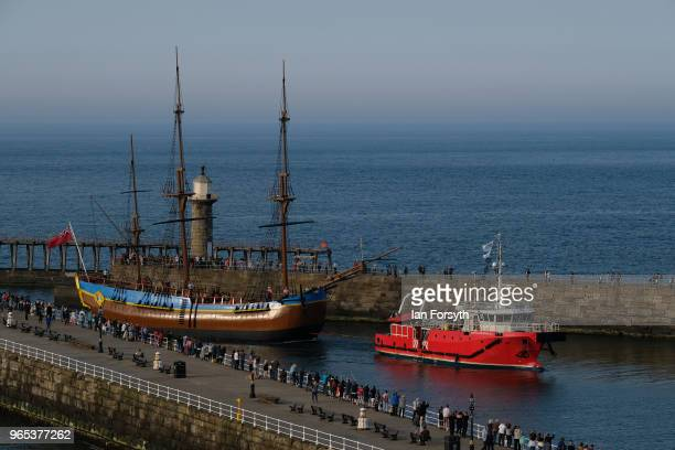 Full sized replica of Captain Cook's famous ship, the HM Bark Endeavour is towed into Whitby Harbour following refurbishment work on the River Tees...