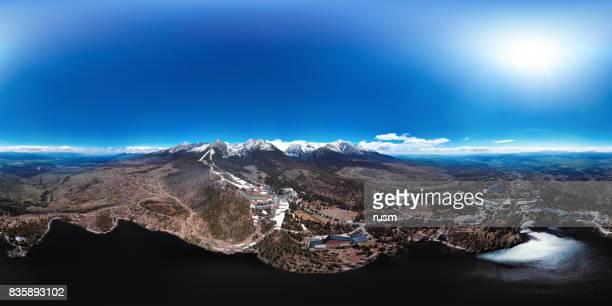 Full spherical aerial panorama of Strbske Pleso resort in High Tatras mountains, Slovakia