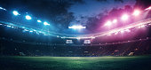 Full stadium and neoned colorful flashlights background