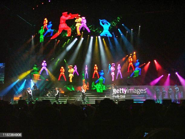 A full stage view of Irish boy band Westlife performing in concert at Hammersmith Odeon on March 29th 2008 in London England Mark Feehily Kian Egan...