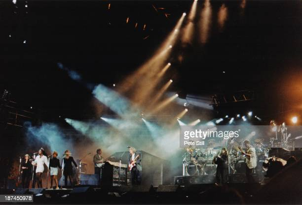 Full stage view of Pink Floyd performing on stage at Knebworth '90, on June 30th, 1990 in Knebworth, Hertfordshire, England.