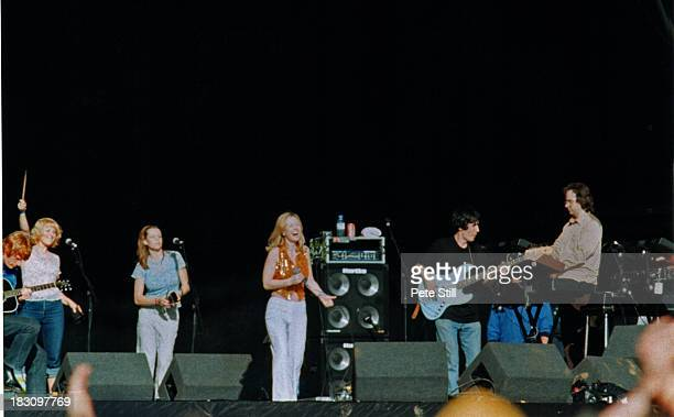 Full stage view of St Etienne performing on stage including band members and Sarah Cracknell at the Glastonbury Festival, on June 28th, 1998 in...