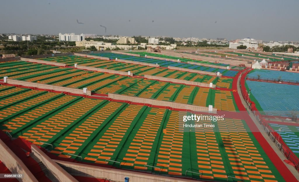 Full swing preparation going on at Rama Bai Ambedkar Maidan for tomorrow as Prime Minister Narendra Modi will present in the event of International Yoga Day on June 20, 2017 in Lucknow, India.