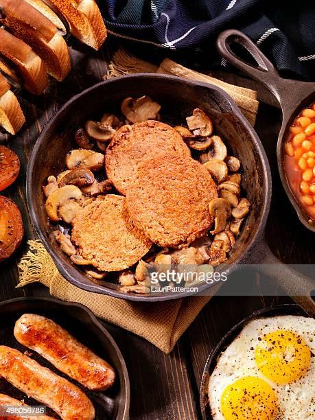 Full Traditional Scottish Breakfast Featuring Haggis