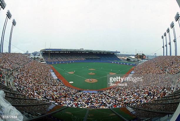 Full view of Exhibition Stadium with the Blue Jays on field circa 1985 in Toronto Canada