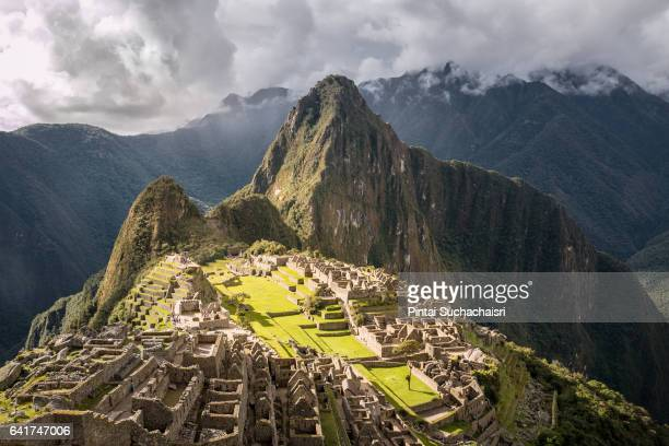 Full View of Machu Picchu and Huayna Picchu Peak in the Background