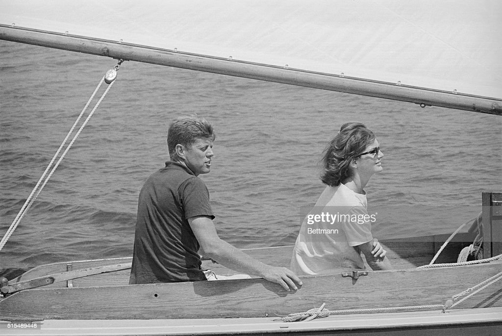 Mr. and Mrs. Kennedy Boating : News Photo
