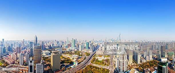 full view of shanghai - nanjing road stock pictures, royalty-free photos & images