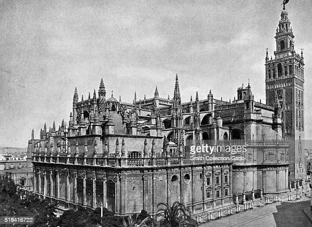 Full view of the Cathedral of Seville second largest church in Europe Seville Spain Europe July 1922