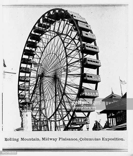 Full view of the Ferris Wheel at the Columbian Exposition in Chicago Illinios1893