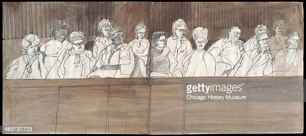 Full view of the jury box in a courtroom illustration during the trial of the Chicago Eight Chicago Illinois late 1969 or early 1970 The Eight or...