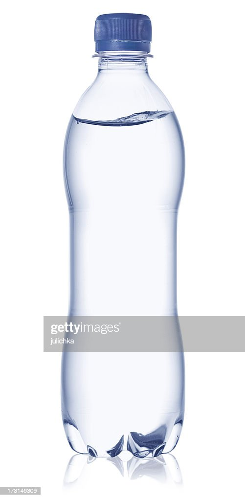 Full water bottle with cap on a white background : Stock Photo