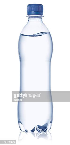 full water bottle with cap on a white background - fles stockfoto's en -beelden