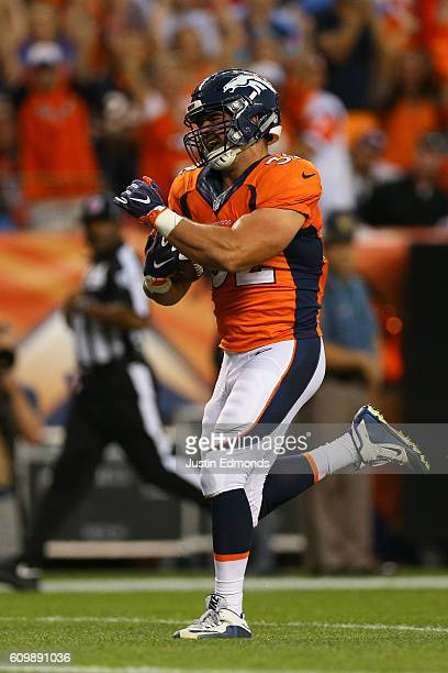 Fullback Andy Janovich of the Denver Broncos in action against the Carolina Panthers at Sports Authority Field Field at Mile High on September 8 2016...