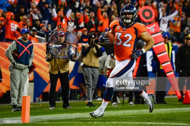 Fullback Andy Janovich of the Denver Broncos runs into the end zone with a touchdown on a fourth reception against the Los Angeles Chargers at...