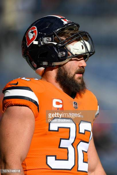 Fullback Andy Janovich of the Denver Broncos stands on the field during player warm ups before a game against the Pittsburgh Steelers at Broncos...