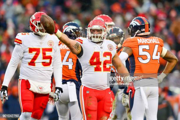 Fullback Anthony Sherman of the Kansas City Chiefs celebrates after rushing for a first down against the Denver Broncos in the third quarter at...