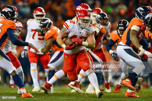 Fullback Anthony Sherman of the Kansas City Chiefs rushes against the Denver Broncos in the fourth quarter of a game at Sports Authority Field at...