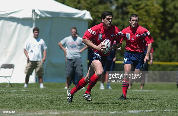 Fullback Bernardo Garcia of Team Chile runs with the ball against Team USA in the 2003 World Cup qualifying match on August 10 2002 at Murray City...
