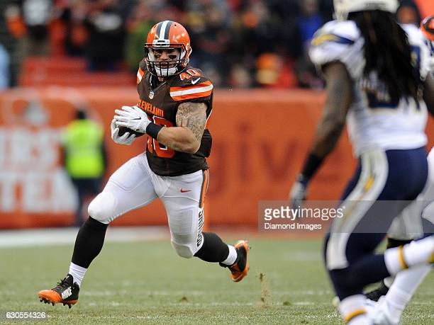 Fullback Danny Vitale of the Cleveland Browns carries the ball downfield during a game against the San Diego Chargers on December 24, 2016 at...