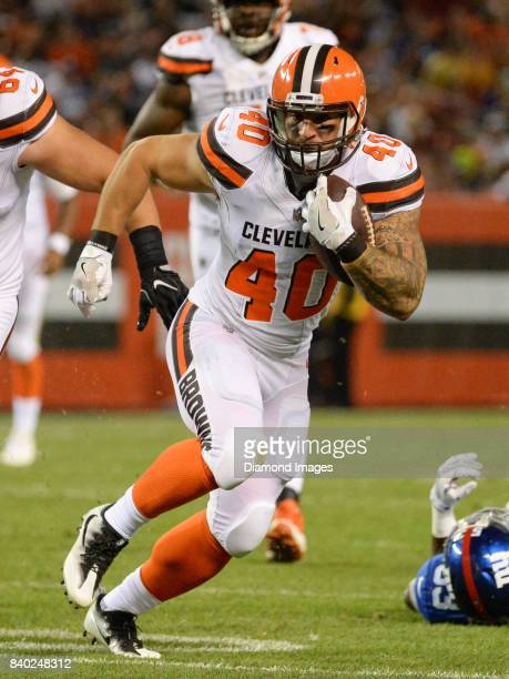 Fullback Danny Vitale of the Cleveland Browns carries the ball downfield in the second quarter of a preseason game on April 27, 2017 against the New...