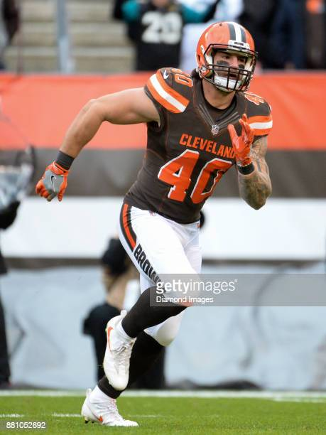 Fullback Danny Vitale of the Cleveland Browns runs downfield to block on a kickoff in the first quarter of a game on November 19, 2017 against the...