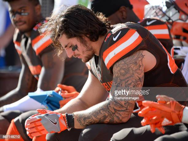 Fullback Danny Vitale of the Cleveland Browns sits on the bench in the fourth quarter of a game on October 22, 2017 against the Tennessee Titans at...