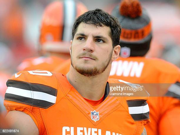 Fullback Danny Vitale of the Cleveland Browns watches the action from the sideline during a game against the New York Jets on October 30, 2016 at...