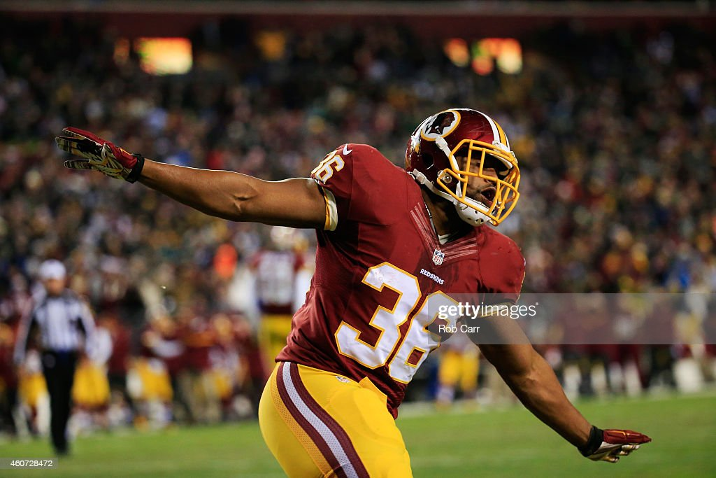 Fullback Darrel Young of the Washington Redskins celebrates after scoring a touchdown during the second half of the Redskins 27-24 win over the Philadelphia Eagles at FedExField on December 20, 2014 in Landover, Maryland.
