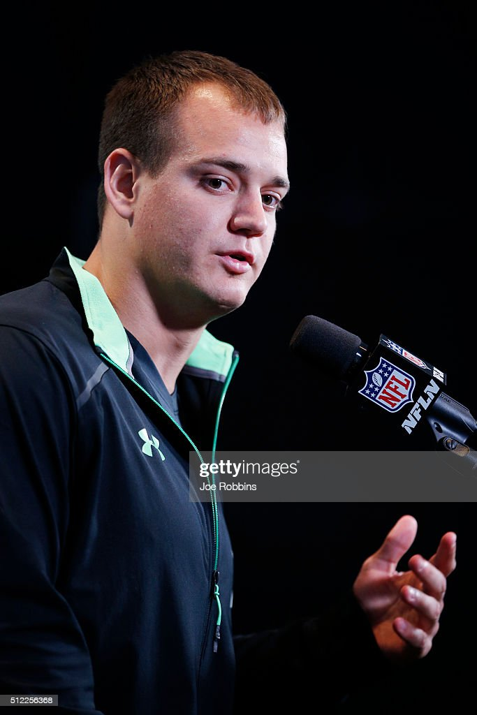 Fullback Glenn Gronkowski #11 of Kansas State speaks to the media during the 2016 NFL Scouting Combine at Lucas Oil Stadium on February 25, 2016 in Indianapolis, Indiana. Glenn's brother is Rob Gronkowski of the New England Patriots.