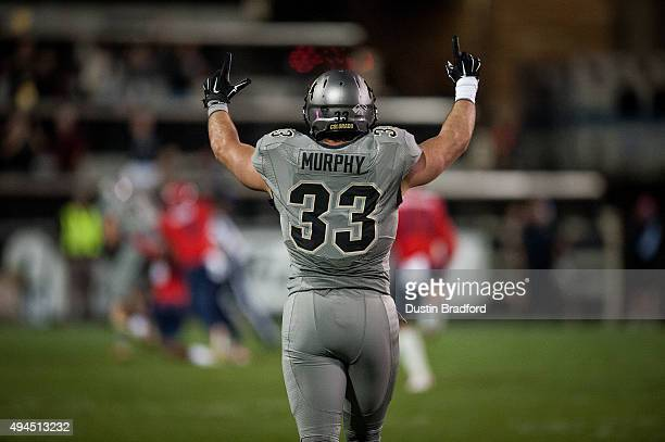 Fullback Jordan Murphy of the Colorado Buffaloes celebrates after a nice play against the Arizona Wildcats at Folsom Field on October 17 2015 in...