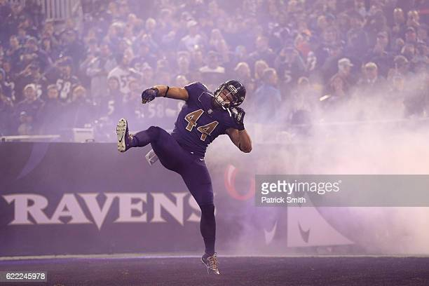Fullback Kyle Juszczyk of the Baltimore Ravens is introduced prior to a game against the Cleveland Browns at MT Bank Stadium on November 10 2016 in...