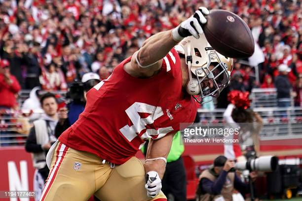 Fullback Kyle Juszczyk of the San Francisco 49ers celebrates a touchdown in the fourth quarter over the Atlanta Falcons during the game at Levi's...