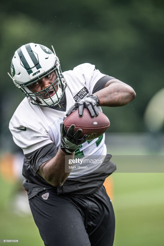 Fullback Lawrence Thomas #44 of the New York Jets catches a pass during mandatory mini camp on June 13, 2018 at The Atlantic Health Jets Training Center in Florham Park, New Jersey.