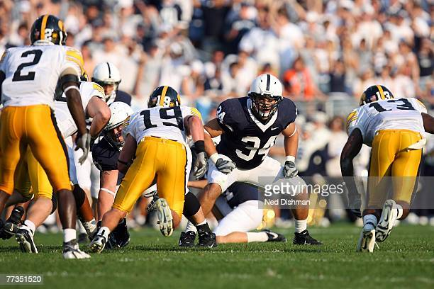Fullback Matt Hahn of the Penn State Nittany Lions blocks against the University of Iowa Hawkeyes at Beaver Stadium on October 6 2007 in State...
