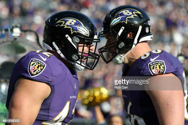 Fullback Patrick Ricard and tight end Nick Boyle of the Baltimore Ravens celebrate a touchdown in the second quarter against the Detroit Lions at MT...