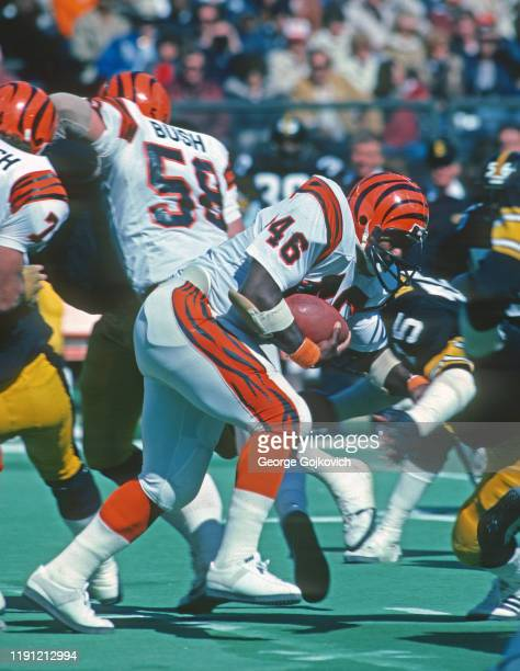Fullback Pete Johnson of the Cincinnati Bengals runs with the football against the Pittsburgh Steelers during a game at Riverfront Stadium circa 1979...