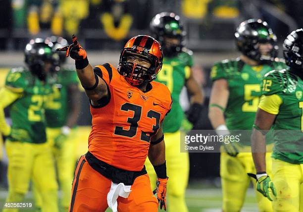 Fullback Tyler Anderson of the Oregon State Beavers celebrates after scoring a touchdown during the fourth quarter of the game against the Oregon...