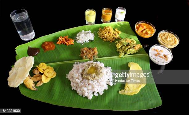 A fullfledged sadya is an integral part of Onam celebrations on September 3 2017 in Kerala India Onam is an annual harvest festival of Kerala The...