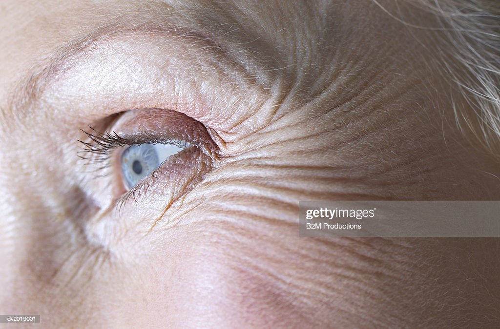 Full-Frame Close-Up of a Senior Woman's Eye : Stock Photo